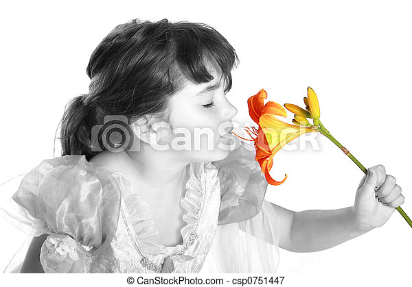 smelling a flower - csp0751447