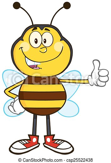 smil, bi, viser, oppe, tommelfinger - csp25522438