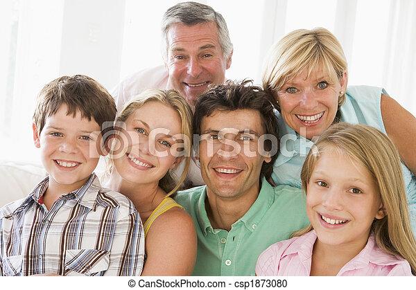 smil, indendørs, familie, sammen - csp1873080