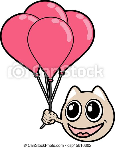 smile animal face with balloons - csp45810802