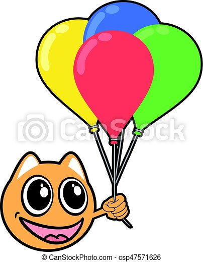 smile animal face with color balloons - csp47571626