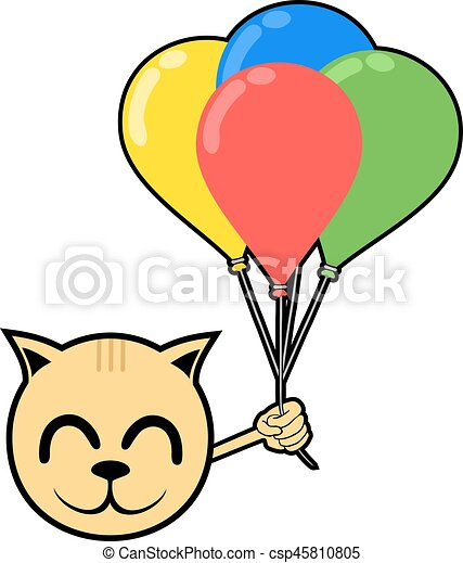 smile animal with color balloons - csp45810805
