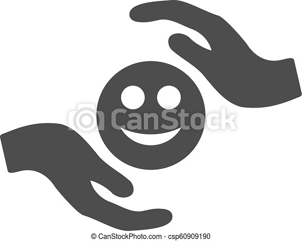 Smile Care Hands Flat Icon - csp60909190