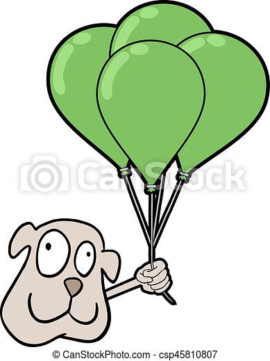 smile dog with balloons - csp45810807