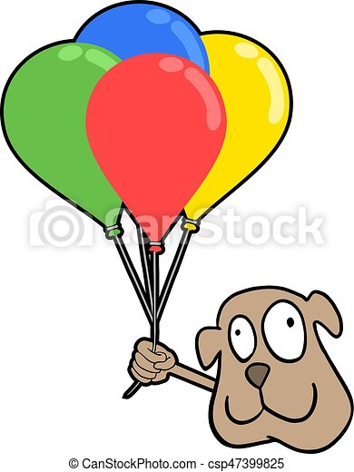 smile dog with color balloons - csp47399825