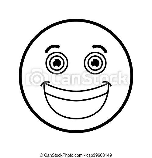 Flat Design Smile Emoticon Icon Vector Illustration