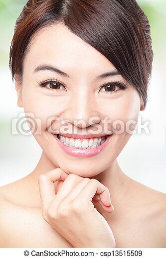Smile Face of woman with health teeth - csp13515509