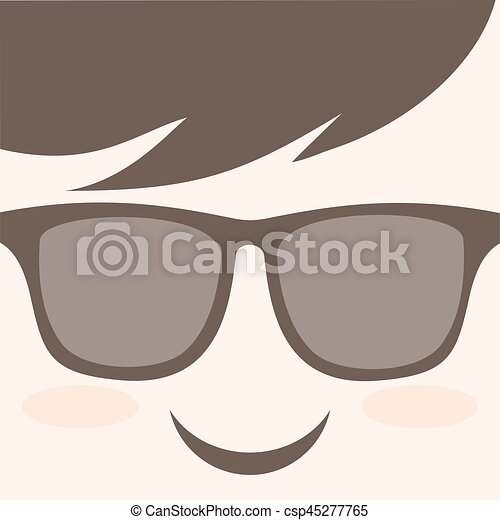 smile face with glasses - csp45277765