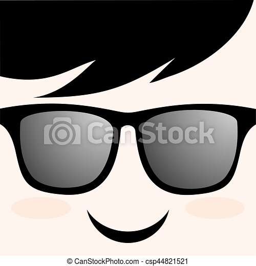 smile face with glasses draw - csp44821521