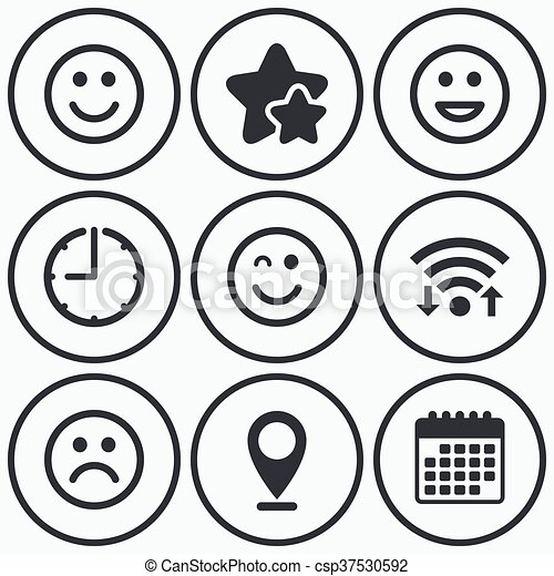 Smile Icons Happy Sad And Wink Faces Clock Wifi And Stars Icons