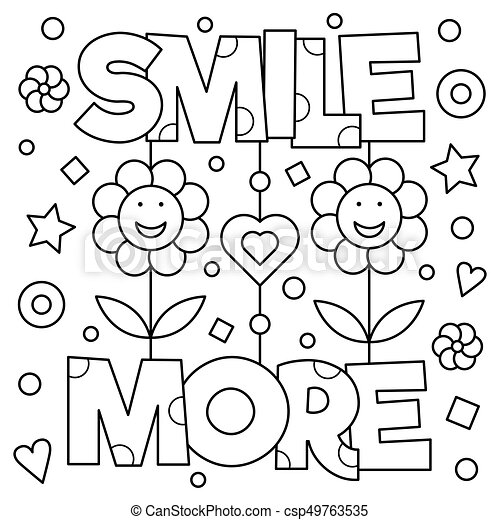Smile more coloring page vector illustration