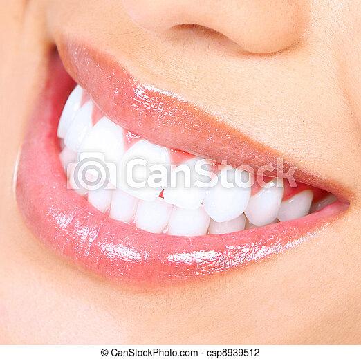 smile., nő, whitening., fog - csp8939512