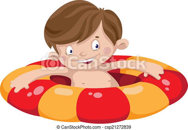 smile swimmer boy - csp21272839