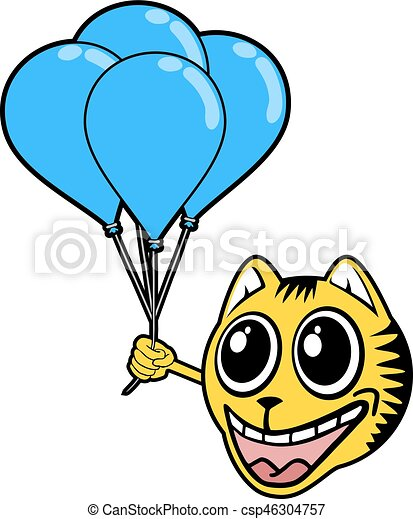 smile tiger with blue balloons - csp46304757