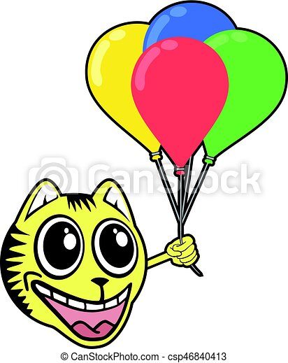 smile tiger with color balloons - csp46840413