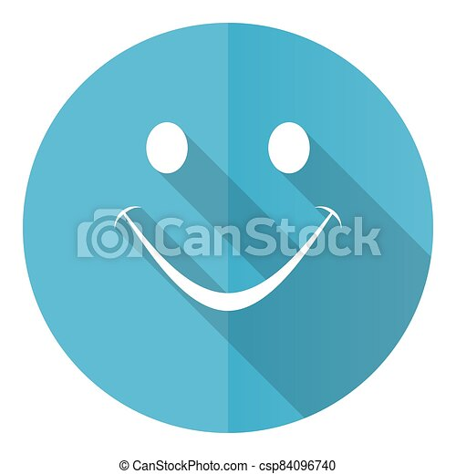 Smile vector icon, flat design blue round web button isolated on white background - csp84096740