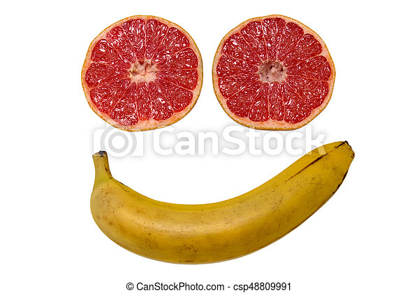 Smiled face made from fruits isolated - csp48809991