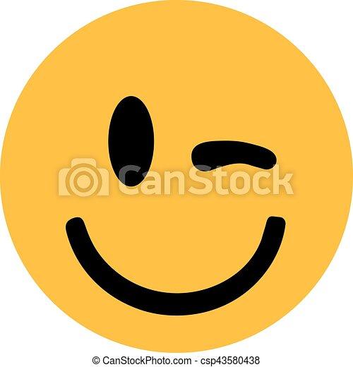 smiley, まばたき, 黄色 - csp43580438