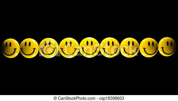 smiley, 黄色の額面 - csp18398603