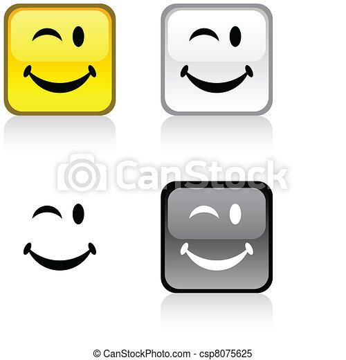 Smiley button. - csp8075625