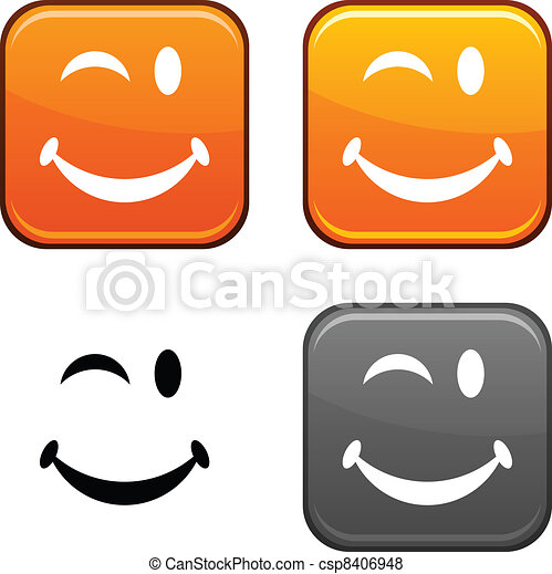 Smiley button. - csp8406948