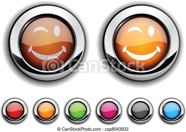 Smiley button. - csp8043933