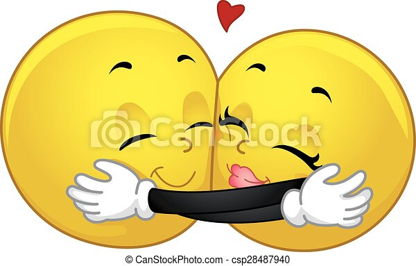 smiley couple hug mascot illustration of a pair of smileys hugging