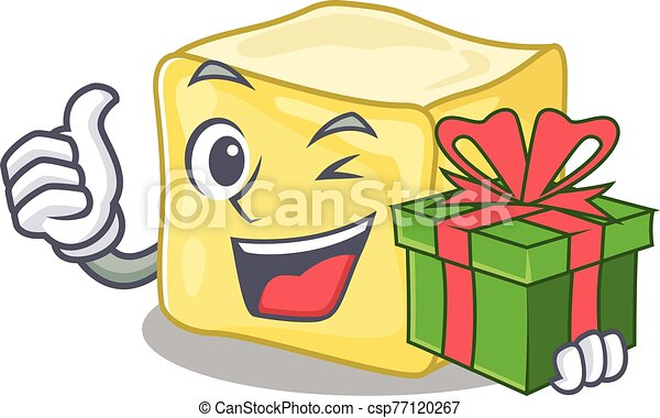 Smiley creamy butter character with gift box - csp77120267