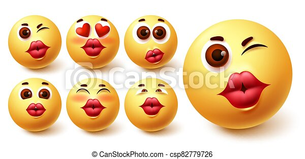 Smiley emoji kiss vector set. Smileys yellow avatar face with kissable lips in different facial expression - csp82779726