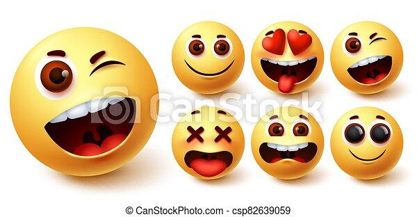 Smiley emoji vector set. Smileys yellow face cute emojis with funny, happy, naughty - csp82639059
