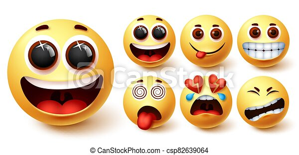 Smiley emojis vector set. Smileys emoji yellow face with happy, excited, hungry, dizzy - csp82639064