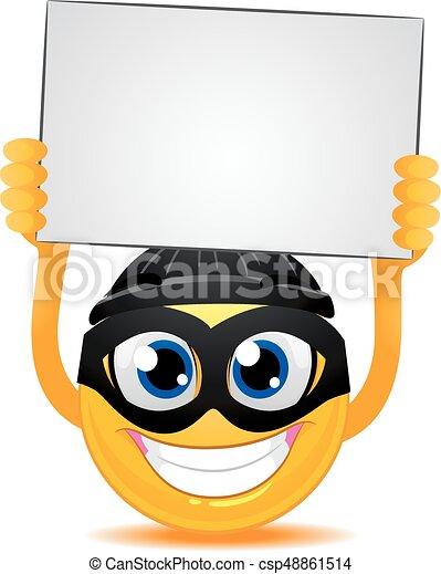 Smiley Emoticon Burglar holding a Blank White Board - csp48861514