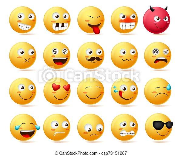 Smiley emoticon vector character face set. Smileys cute faces emoji in side view. - csp73151267