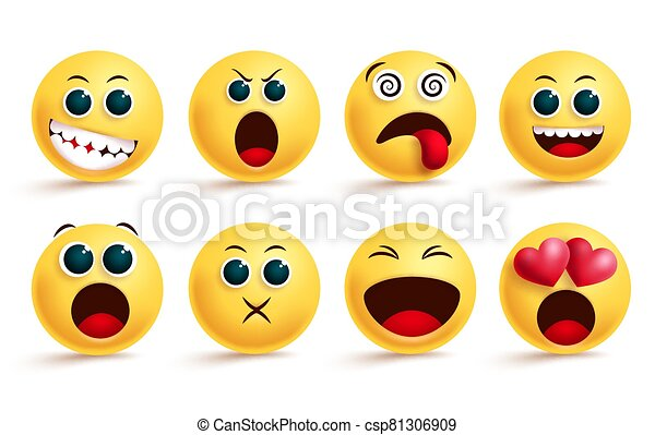 Smiley emoticon vector set. Smileys emoji and yellow face emoticons with dizzy, shouting, in love and happy cute facial expressions. - csp81306909