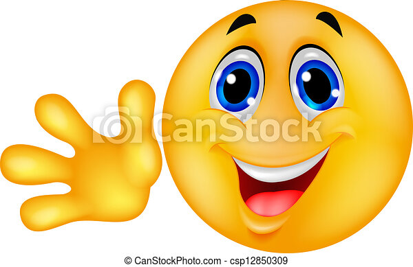 Smiley emoticon waving hand - csp12850309