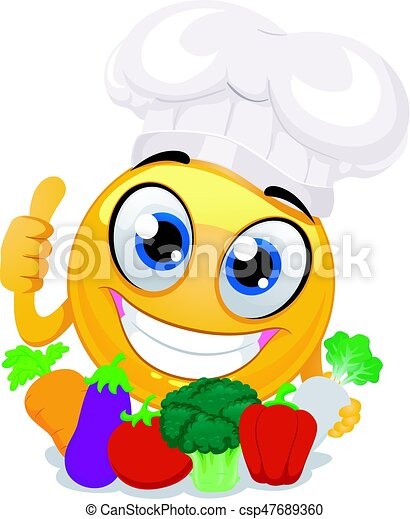 vector illustration of smiley emoticon wearing chef hat clip art rh canstockphoto com clipart checkmark clip art chef images