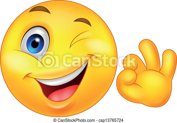 Smiley emoticon with ok sign - csp13765724