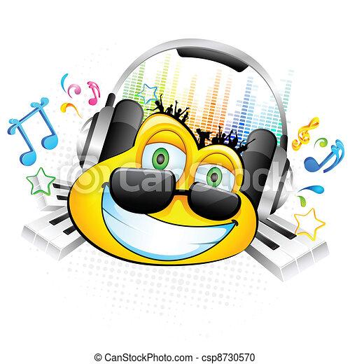 Smiley enjoying Music - csp8730570