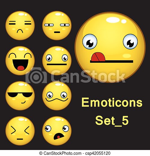 Smiley face and emoticon set with facial expressions vector smiley face and emoticon set with facial expressions isolated in dark gray background set 5 voltagebd Image collections