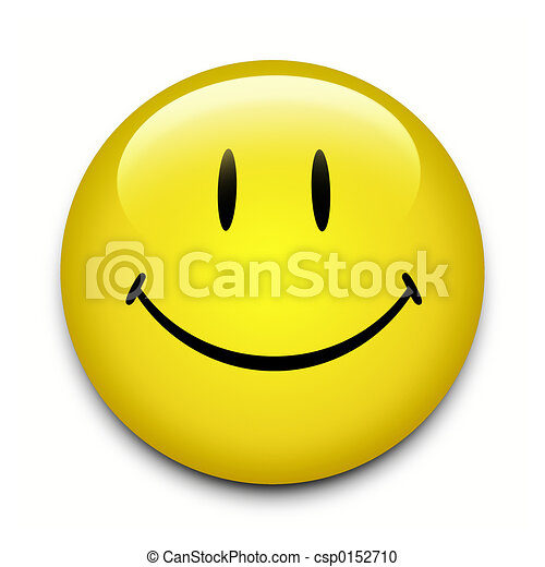 yellow smiley face button on white background stock illustration rh canstockphoto com Funny Smiley Face Clip Art Funny Smiley Face Clip Art