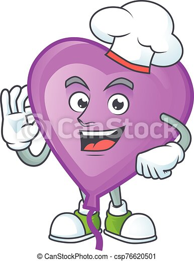 Smiley Face chef purple love balloon character with white hat - csp76620501