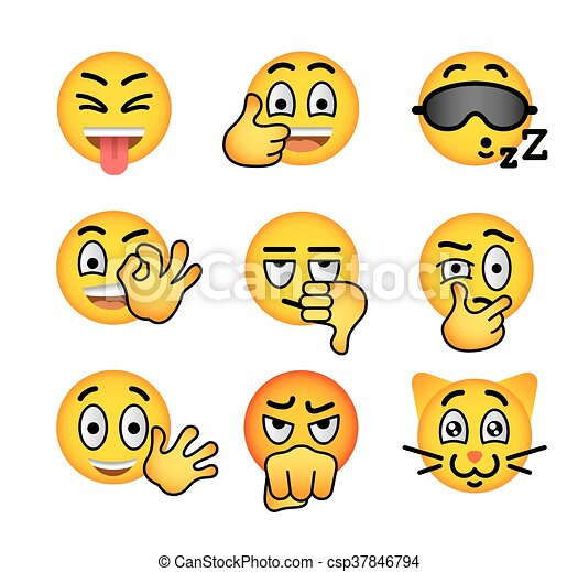 Smiley face emoji flat vector icons set - csp37846794