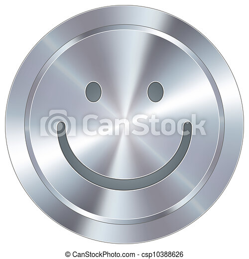 Smiley face on industrial button - csp10388626