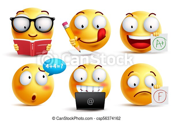 Smiley face vector set for back to school with facial expressions