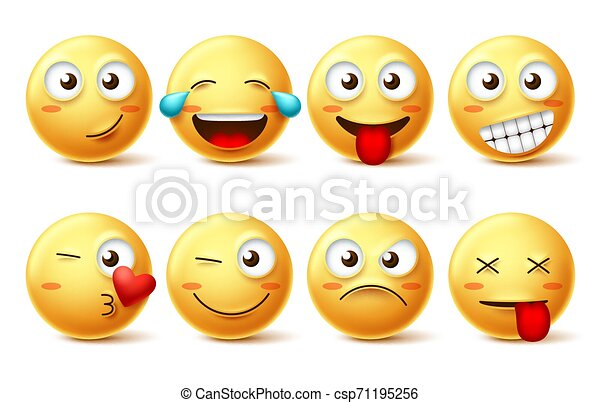 Smiley face vector set. Smileys yellow emoji with happy, funny, kissing, laughing and tired - csp71195256