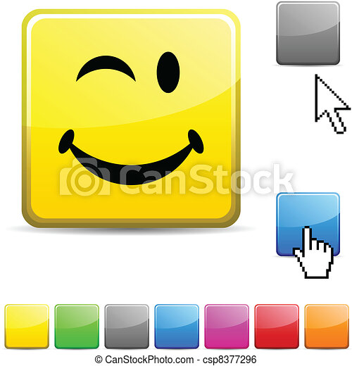 Smiley glossy button. - csp8377296
