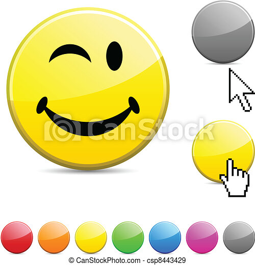 Smiley glossy button. - csp8443429