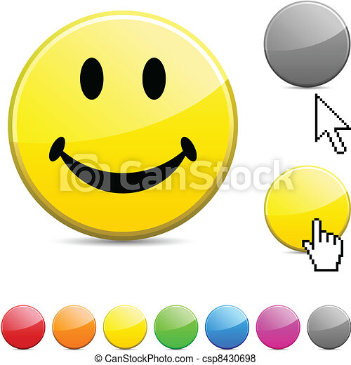 Smiley glossy button. - csp8430698
