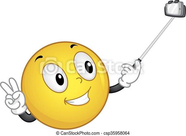Smiley Handling Selfie Stick - csp35958064
