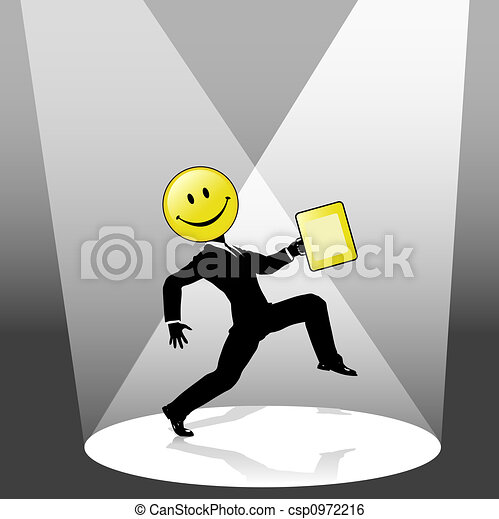 Smiley High Step Business Person Dance in Spotlight - csp0972216
